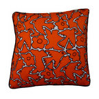 "Ayautla Orange Pillow - Beautiful pillow made from hand embroidered fabric from San Bartolomeo, Mexico. Insert included. Side Zipper. Orange canvas backing and black piping. Size: 18"" square"