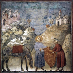 """Giotto Di Bondone Legend of St Francis: 2. St Francis Giving Print - 16"""" x 16"""" Giotto Di Bondone Legend of St Francis: 2. St Francis Giving his Mantle to a Poor Man (Upper Church, San Francesco, Assisi) premium archival print reproduced to meet museum quality standards. Our museum quality archival prints are produced using high-precision print technology for a more accurate reproduction printed on high quality, heavyweight matte presentation paper with fade-resistant, archival inks. Our progressive business model allows us to offer works of art to you at the best wholesale pricing, significantly less than art gallery prices, affordable to all. This line of artwork is produced with extra white border space (if you choose to have it framed, for your framer to work with to frame properly or utilize a larger mat and/or frame).  We present a comprehensive collection of exceptional art reproductions byGiotto Di Bondone."""