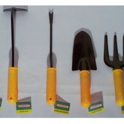 Bosmere Yellow Hand Tools - Set of 6 - The Bosmere Yellow Hand Tools - Set of 6 is an excellent set of tools perfect for a budding or seasoned gardener. Each piece features a durable molded yellow plastic handle with convenient hanging hook and has a powder-coated head that's a snap to clean. This set includes two trowels, a hand fork, dandelion weeder, and hand hoe.About BosmereFor over 25 years, the Bosmere group has been established in the world of home, garden, and leisure. Bosmere manufactures original ideas and designs that are built to stand the test of time. One mark of their superior quality is that 20 to 30 percent of their business is exported to a world market that demands top quality service, customer support and competitive pricing. Established in North America for over 15 years, Bosmere has been serving the entire country, and also sends wholesale goods to Canada, Central and South America. Part of their focus on outstanding customer service includes products that are attractively packaged, and well presented with informative instructions, diagrams, and photographs.