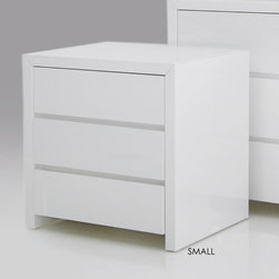 """Mobital - Bianca 3 Drawer Nightstand - The Bianca bedroom collection is a simple and elegant line. Bianca sets the stage for your most beautiful set of linens. With mitred corner detailing and a polyester finish, this collection is easily kept clean and is super durable. Features: -Interior drawers white finish.-Durable polyester lacquer finish.-Bianca collection.-Frame Material: MDF.-Solid Wood Construction: No.-Finish: White high gloss.-Powder Coated Finish: No.-Gloss Finish: Yes.-Hand Rubbed Finish: No.-Number of Items Included: 1.-Non Toxic: Yes.-Scratch Resistant: Yes.-Drawers Included: Yes -Number of Drawers: 3.-Drawer Interior Finish: White high gloss.-Drawer Glide Material: Metal.-Drawer Glide Extension: Full.-Soft Close or Self Close Drawer Glides : Yes.-Safety Stop: Yes.-Ball Bearing Glides: Yes.-Drawer Dividers: No.-Felt Lined Drawers: No.-Drawer Handle Design: Finger pull..-Exterior Shelving: No.-Cabinets Included: No.-Top Material: MDF.-Lighting Included: No.-Hidden Storage: No.-Interchangeable Panels: No.-Mirror Included: No.-Cable Management: No.-Built In Outlets: No.-Finished Back: Yes.-Distressed: No.-Collection: Bianca-blanche.-Swatch Available: No.-Commercial Use: Yes.-Recycled Content: No.-Eco-Friendly: Yes.-Product Care: Damp cloth no harsh detergents.Specifications: -FSC Certified: No.-EPP Compliant: No.-CPSIA or CPSC Compliant: No.-CARB Compliant: Yes.-JPMA Certified: No.-ASTM Certified: No.-ISTA 3A Certified: Yes.-PEFC Certified: No.-General Conformity Certificate: No.-Green Guard Certified: No.Dimensions: -Overall Height - Top to Bottom (Size: 24"""" H x 24"""" W x 20"""" D): 24"""".-Overall Height - Top to Bottom (Size: 30"""" H x 31"""" W x 20"""" D): 30"""".-Overall Width - Side to Side (Size: 24"""" H x 24"""" W x 20"""" D): 24"""".-Overall Width - Side to Side (Size: 30"""" H x 31"""" W x 20"""" D): 31"""".-Overall Depth - Front to Back (Size: 24"""" H x 24"""" W x 20"""" D): 20"""".-Overall Depth - Front to Back (Size: 30"""" H x 31"""" W x 20"""" D): 20"""".-Drawers: -Drawer Interior Height - Top to Botto"""