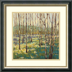 Amanti Art - Libby Smart 'Trees in Blue Green' Framed Art Print 19 x 19-inch - Libby Smart's style of painting can be recognized by her unique brushwork and cheerful palette. Hang this celebration of the great outdoors on your wall!