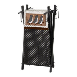 Cotton Tale Designs - Arctic Babies Hamper with Frame - A quality baby bedding set is essential in making your nursery warm and inviting. All Cotton Tale patterns are made using quality materials and are uniquely designed to create your perfect nursery. Part of the Arctic Baby collection, the hamper is made of 100% cotton. The black with white dot is accented by the bias ties and penguin babies. The wood frame is black . Wash bag in gentle cycle, separate, cold water. Tumble dry low or hang dry. Comes on a black frame. Perfect for a boy or girl.