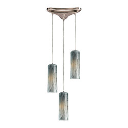 Elk Lighting - Maple 3-Light Pendant in Satin Nickel and Maple Dusk - Individuality is what defines this exquisite line of hand blown glass. Each piece is meticulously hand blown with up to three layers of uncompromising beauty and style.
