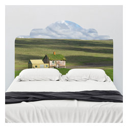 J. Paul Moore - Paul Moore's Abandon Farm House, Iceland Headboard Wall Decal - This headboard wall decal features the quintessential cottage on a moor: but this isn't the Scottish Highlands of your Outlander dreams, this is Iceland, and boy, is it beautiful!