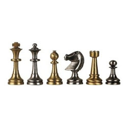 Cambor - Solid Brass Staunton Chess Set in Brushed Satin Finish - Crafted of solid brass, this luxurious chess set will be the definitive choice for expert players who appreciate well crafted pieces. Finished in brass and silver plate in brushed satin for added visual interest, the set will be a handsome addition to a study, den or library game table. Made of Solid Brass. Solid brass and silver plate colors. A masterpiece: pieces look and feel like satin. Made in Italy. King: 3 in. H / Base:  1.125 in. dia.. 16 in. L x 16 in. W x 2 in. H (10 lbs.)
