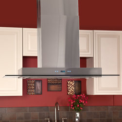 """42"""" Domier 2200 Series Stainless Steel Island Range Hood - 900 CFM - Vent away grease, heat, smoke and moisture as you cook with the 42"""" Domier 2200 Series Island Stainless Steel Range Hood. Featuring a variable speed fan and a modern design, this kitchen vent system will complement existing modern appliances."""