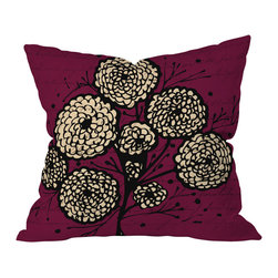 "DENY Designs - Julia Da Rocha Letters And Flowers Throw Pillow, 18x18x5 - What's your ""nom de bloom""? Send flowers and letters to the one you love with this pretty pillow. Black and tan flowers burst against plum ""stationery"" printed on woven polyester. Add sweet, sentimental style to your sofa, bed or bench."