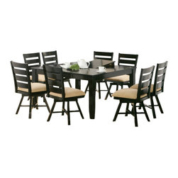 "Canterbury Home Furnishing - Canterbury Jeffie 9-Piece Dining Room Set with Leaf - Clean lines and undeniable style - the main theses of Jeffie collection. Canterbury Jeffie 9 Piece Swivel Dining Set with 54"" x 54"" Table reflects a design suitable for any kitchen, to any requirement. Indulge yourself in the pleasure to use high-grade furniture, created from high quality materials, embodied in perfect shape."