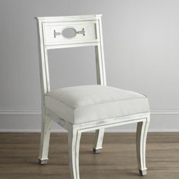 "Florence de Dampierre - Florence de Dampierre ""Chaney"" Rubbed-White Chair - Pied-de-biche (hoof foot) chair features an oval cut-out on the back flanked by belle-flower carvings and sits on legs finished with delicately painted hooves. From the Florence de Dampierre Collection for John-Richard. Handcrafted of acacia wood wi..."
