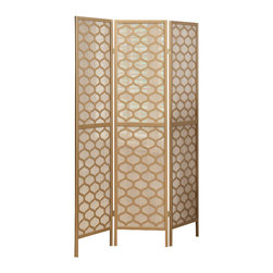 Monarch Specialties - Monarch Specialties 4638 Folding Screen in Gold Frame Lantern Design - A hand constructed screen with gold honeycomb cut overlays with a tightly woven rice paper screen. Tight weave allows little light to pass through, as well as reinforces the kiln-dried wood frames, creating a portable but sturdy screen. Use as a partition, privacy screen or decorative background in the home or office.