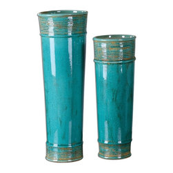 """Billy Moon - Billy Moon Thane Teal Green Vase X-53891 - Tall, cylindrical vases made of crackled, teal green ceramic with rope details and heavy tan glaze. Sizes: Small - 6"""" x 15"""" x 6"""", Large - 6"""" x 19"""" x 6""""."""