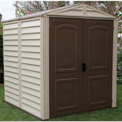 Duramax Woodside Vinyl Shed with Floor - 6 x 6 ft. - With a charming construction and generous capacity the Duramax Woodside Vinyl Shed with Floor - 6 x 6 ft. is your best bet for backyard storage. This solid shed sports a durable vinyl facade that won't rust rot dent or mildew. Whether it's hailing or snowing it's sure to shelter your stuff. A metal frame and foundation floor reinforce the structure so it will withstand wind gusts and snow loads up to 20 lbs. per square inch. Plus you'll never need to paint it! Towering double doors allow you to walk in - sans slouching - and open to a large space where you can keep tools and equipment and even install shelving. The door handles are equipped with padlock eyes for safekeeping. Assembly is a weekend project for one or two people. Includes a 15-year limited warranty. Dimensions Exterior: 6.32L x 6.23W x 6.98H feet Interior: 5.83L x 5.8W x 6.41H feet Door: 5.11W x 5.95H feet About DuramaxWeather-tested user-approved DuraMax Sheds produces nothing but the most durable vinyl sheds vinyl garages cabins fences and greenhouses available on the market. Each of their outdoor pieces combines rigid vinyl and steel reinforcement making them weather-proof and incredibly strong. Testing their line against high winds snow loads and other extreme conditions DuraMax is committed to providing consumers with low-maintenance high-quality products.