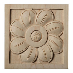 "Ekena Millwork - 5""W x 5""H x 1""D Large Sunflower Rosette, Maple - Our rosettes are the perfect accent pieces to cabinetry, furniture, fireplace mantels, ceilings, and more.  Each pattern is carefully crafted after traditional and historical designs.  Each piece is carefully carved and then sanded ready for your paint or stain.  They can install simply with traditional wood glues and finishing nails."