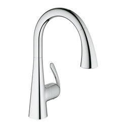Grohe - Grohe Starlight Chrome Ludylux 3 Cafe Ladylux OHM Sink Pull-out Spray Kitchen Fa - Give your kitchen sink a modern update with this sleek Ludylux faucet by Grohe. The polished chrome finish and curved design give it a contemporary look that gets noticed,and the pull-out spray offers convenience.