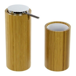 Gedy - Bamboo Bathroom Accessory Set, Soap Dispenser And Toothbrush Tumbler - This bathroom accessory set is made of bamboo with a protective finishing.