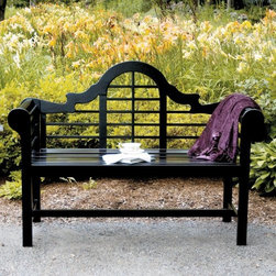 Achla Designs Black Lutyens Bench - The Black Lutyens Bench features classic style with a contemporary edge that will complement any garden setting. This stunning bench is finished in weather-resistant black polyurethane and is a comfortable addition to any outdoor setting perfect for reading a book or enjoying a cup of tea. The decoratively arched back features a linear design and the arms are rounded and slatted. Constructed of durable sustainable eucalyptus grandis this lovely slat-seat bench is eco-friendly as well as eye-catching and durable. Assembly required. Dimensions: 54W x 20D x 39H inches.About ACHLA DesignsThis item is created by ACHLA Designs. ACHLA is a garden accessories company that emphasizes unique wood and hand-forged wrought iron European furnishings for the home and garden. ACHLA Designs continues to add beautiful and unique items year after year resulting in an unusually large product line. All ACHLA products are stocked in the company's warehouse for year-round prompt shipping. ACHLA Designs takes great pride in offering exceptional products and customer service.