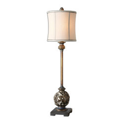 Uttermost - Uttermost Billy Moon Table Lamp in Antiqued Silver Champagne - Shown in picture: Aged Golden Bronze Finish With Antiqued Silver Champagne Details And A Gray Wash. Aged - golden bronze finish with antiqued silver champagne details and a gray wash. The round modified drum shade is a khaki linen fabric with chocolate bronze trim.