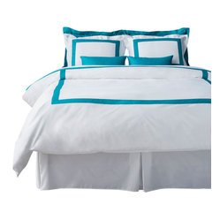 LaCozi Turquoise and White Duvet Cover Set