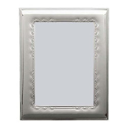 """Silverstar International - 3.5""""x5"""" Madison 3.5""""x5"""" Sterling Silver Picture Frame - The Madison anniversary picture frame beautifully expresses the joy of their special celebration. Designed with delicate flowers along the inner border, the Silverstar International 925 bi-laminated Sterling Silver picture frame is meticulously manufactured to an aluminum base for strength & attached to a veneer mahogany wooden back and easel."""