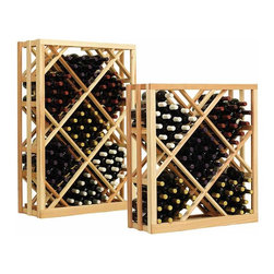 Wine Cellar Innovations - Vintner Series Wine Rack - Open Diamond Bin Wine Racks - The Vintner Series Open Diamond Bin Wine Rack has open sides and cross intersection inserts that allow for this wine rack kit to be a more affordable option than the Solid Diamond Bin, but achieves the same wine storage look. Purchase two to stack on top of each other to maximize the height of your wine storage. Moldings and platforms sold separately. Assembly required.