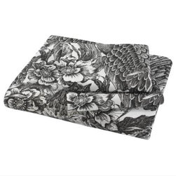 Etching Ink Duvet Set - This pattern is reminiscent of toile, but with big beautiful birds and a darker palette. Best of all, it's on major markdown from $280 to $98. Score!