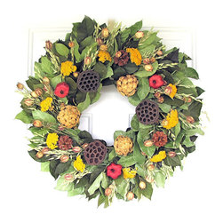 "Frontgate - Artichoke and Red Wreath - 22"" dia. - 100% all natural dried elements. Hand assembled in USA. Ready to hang. For indoor and covered outdoor use. Our Artichoke and Pomegranate Wreath stands out with an abundance of autumn color. The wreath's stunning assortment includes salal, pomegranates, artichokes, yarrow, avena, Austricia cones, and lotus pods.  .  .  .  ."