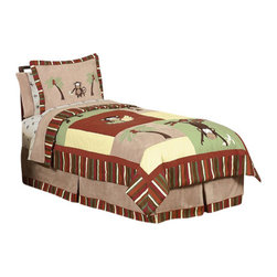 Sweet Jojo Designs - Monkey Children's Bedding Set - The Monkey Children's Bedding Set by Sweet Jojo Designs will help you create an incredible room for your child. This boy bedding set features jungle themed appliqués and embroidery works of monkeys and palm tree scenery. This collection uses the stylish colors of brown, camel, rust, avocado, and yellow. The design uses 100% cotton fabrics combined with minky and microsuede that are machine washable for easy care. This wonderful set is available in a twin and full/queen size.