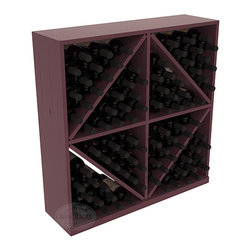 Wine Racks America - Solid Diamond Wine Storage Bin in Pine, Burgundy + Satin Finish - This solid wooden wine cube is a perfect alternative to column-style racking kits. Holding 8 cases of wine bottles, you can double your storage capacity with back-to-back units without requiring more access area. This rack is built to last. That is guaranteed.