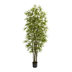 """Nearly Natural - Nearly Natural 7' Green Bamboo Tree - Turn any room into a forest with this grand Bamboo tree. Standing a full 84"""" in height (that's seven feet tall, folks), this beauty has 10 trunks and more than 2200 individual leaves, giving it a full, healthy appearance that will endure, without water or sun. This is a piece of decor for areas that need something big and bold, so it's ideal for both home and office. Makes a great housewarming (or other occasion) gift as well."""
