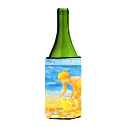 Caroline's Treasures - Little Girl at the beach Wine Bottle Koozie Hugger - Little Girl at the beach Wine Bottle Koozie Hugger Fits 750 ml. wine or other beverage bottles. Fits 24 oz. cans or pint bottles. Great collapsible koozie for large cans of beer, Energy Drinks or large Iced Tea beverages. Great to keep track of your beverage and add a bit of flair to a gathering. Wash the hugger in your washing machine. Design will not come off.