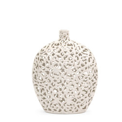 IMAX - Small Lacey Vase - Lace pattern and texture are featured in a crisp, matte white finish over the small Lacey vase.