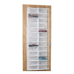 Richards Homewares - Crystal Clear Over-the-Door Shoe Bag - Over-the-door shoe bag can hold up to 26 pairs of shoes, and it's also great for hats, accessories and more. It's clear vinyl so you can easily see what you stored, and it hangs over the door with the provided hooks.