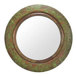 """Lamps Plus - Casual Cooper Classics Francis Aged Copper 27"""" Round Wall Mirror - Showcasing a dramatic aged copper finish frame with verdigris the Francis wall mirror is a stunning decor accent that blends rustic and old world styles. Within the 27"""" round frame sits an 18"""" round mirror pane that spreads light throughout the room and helps to make the space appear larger. Designed by Cooper Classics. Round wall mirror. Polyurethane frame with pressed copper overlay. Aged copper finish with verdigris. 27"""" round. Mirror glass only is 18"""" round.  Round wall mirror.   Polyurethane frame with pressed copper overlay.   Aged copper finish with verdigris.   27"""" round.   Mirror glass only is 18"""" round."""