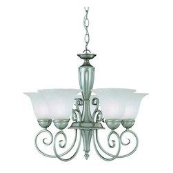 Savoy House - Savoy House KP-1-5001-5 Wrought Iron 5 Light Up Lighting Chandelier Lib - Five light chandelierFeatures Cream Marble GlassRequires five 60w medium base bulbs