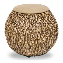 Kathy Kuo Home - Hedgehog Coco Feather Tan Leather Global Bazaar Ottoman Pouf - This enchanting ottoman is uniquely designed to inspire curiosity and conversations. Crafted from petite pieces of coco bark, layered like feathers, this hand-sewn hassock has exotic appeal. A comfortable sand-colored leather cushion invites everyone to take a seat on the wild side.