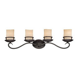 "Designers Fountain - Designers Fountain 84704-NI Laundernhill Transitional Bathroom Light - Hand forged iron feel is the essence of thisrustic but refined design with the captured""column style candle"" glass shade."