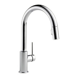 Delta - Delta 9159-DST Trinsic Series Deck-Mounted Pull-Down Kitchen Faucet - Delta 9159-DST Trinsic Collection  with sleek sophistication inspired by modern European design has clean lines and a minimalistic feel. The Delta 9159-DST is a One Handle Pulldown Kitchen Faucet in Chrome.