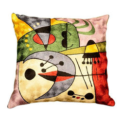 """Modern Silk - Miro Early Morning Cushion Cover Hand Embroidered 18"""" x 18"""" - Abstracted from Joan Miro's portfolio 'Constellations,' this art silk embroidery piece has elements of his 'Awakening in the Early Morning.' These accomplished Kashmiri handcrafters produce the finest quality chain-stitch embroidery in the world. This article was designed and handcrafted in a cottage industry which spans the whole village from the hand-dyed thread to the finished product. Cover an existing throw pillow or put it over a new pillow form to create a focal point in your décor."""