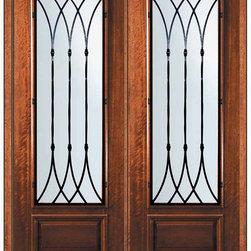 "Prehung Double Door 96 Wood Mahogany Warwick 3/4 Lite Wrought Iron - SKU#P18662WW-G-WP834W2WBrandGlassCraftDoor TypeExteriorManufacturer Collection3/4 Lite Entry DoorsDoor ModelWarwickDoor MaterialWoodWoodgrainMahoganyVeneerPrice4945Door Size Options  +$percent  +$percentCore TypeDoor StyleDoor Lite Style3/4 LiteDoor Panel Style1 PanelHome Style MatchingDoor ConstructionPortobelloPrehanging OptionsPrehungPrehung ConfigurationDouble DoorDoor Thickness (Inches)1.75Glass Thickness (Inches)Glass TypeDouble GlazedGlass CamingGlass FeaturesLow-E , TemperedGlass StyleGlass TextureWater , Flemish , Baroque , Fluted , Rain , Glue Chip , ClearGlass ObscurityLight Obscurity , Moderate Obscurity , Highest Obscurity , No ObscurityDoor FeaturesDoor ApprovalsWind-load Rated , FSC , TCEQ , AMD , NFRC-IG , IRC , NFRC-Safety GlassDoor FinishesDoor AccessoriesWeight (lbs)719Crating Size25"" (w)x 108"" (l)x 52"" (h)Lead TimeSlab Doors: 7 Business DaysPrehung:14 Business DaysPrefinished, PreHung:21 Business DaysWarrantyOne (1) year limited warranty for all unfinished wood doorsOne (1) year limited warranty for all factory?finished wood doors"