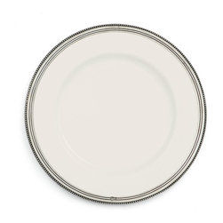 Perlina Dinner Plate - Whether providing a high point of design to the everyday table or giving a grave and regal grounding to the setting of a formal gathering, the Perlina Dinner Plate offers effortless coordination with fine china and everyday ceramic alike. The dish's refined rim of hand-finished, bead-textured pewter emphasizes the handsome simplicity of a white ceramic base.