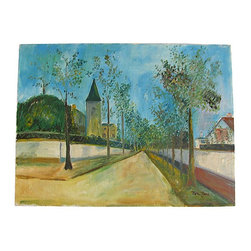 """Consigned - French Village Street Scene, Oil Painting on Canvas - Original oil on canvas depicting charming French village streetscape.  View down a typical French tree-lined street with the church in the distance.  Hang """"as is"""" or add a frame to match your decor."""