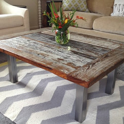 Reclaimed Cypress and Steel Coffee Table - Reclaimed cypress coffee table