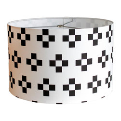 """MOOD Design Studio - Modern Lamp Shade - Nordic Winter Collection - Nordic Tiles, 12"""" - This lamp shade is part of our new """"Nordic Winter"""" collection for fall/winter 2014/15 and is called """"Nordic Tile"""". This tile pattern reminds me of the traditional painted folk art of the Scandinavian countries. This shade is interesting but not too busy and would look beautiful on that old lamp base by your bed. It would also be an attention grabbing centerpiece in your living room, front entrance or anywhere you have a lamp base that needs a refresher!"""