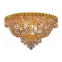 "PWG Lighting / Lighting By Pecaso - Agathe 9-Light 20"" Crystal Flush Mount 1615F20G-SS - This classical Agathe Crystal Chandelier with flowing symmetrical shape and nearly invisible frame offers a striking surge of brilliant light. Sconces and ceiling mounts enhance your room decor."