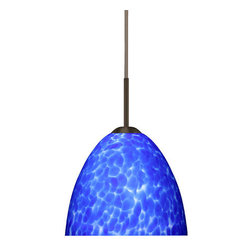 "Besa Lighting - Besa Lighting 1BC-757286-HAL Sasha II 1 Light Halogen Cord-Hung Mini Pendant - Sasha II has a classical bell shape that complements aesthetic, while also built for optimal illumination. Our Blue Cloud glass is full of floating, splashes of blue tones over white that almost feels like a watercolor painting. This combination of color is crisp and timeless. This decor is created by rolling molten glass in small bits of blue hues called frit. The result is a multi-layered blown glass, where frit color is nestled between an opal inner layer and a clear glossy outer layer. The handcrafted touch of a skilled artisan, utilizing century-old techniques passed down from generation to generation, creates variations in color and design that are to be appreciated. The cord pendant fixture is equipped with a 10' SVT cordset and an ""Easy Install"" dome monopoint canopy.Features:"