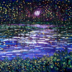 Purple - Blue Moon Stream And Fireflies (Original) by Jean Vadal Smith Bentson - Fireflies fill the night sky , makes you want to walk out into the summer moonlit evening. Colors are rich purples, deep blues, deep greens, with touches of gold and little deep yellow-white fireflies darting about.  So much fun to paint and get lost in the feeling of the painting.