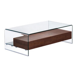 Zuo - Shaman Coffee Table - The Shaman is everything you could want in a functional and beautiful coffee table. The clear bent glass top and sides lend modern sophistication, while gracefully suspending a natural walnut shelf. Concealed within the shelf are two storage drawers for corralling necessities such as remote controls. At nearly four feet long, the Shaman Coffee Table's generous scale is perfect for anchoring a seating arrangement in the living room or media room. The tempered glass serves to showcase choice accessories or coffee table books on the solid lower shelf, and is a foolproof surface for busy households or for those who like to entertain. Choose the Shaman Coffee Table for it's incredible design and smart sensibility.