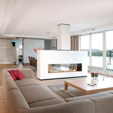Contemporary double-sided fireplace (gas open hearth)AR 003 BLOCH DESIGN