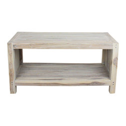 Kammika - Coffee Table w Shelf 36x16x18inch H Farmed Teak Wood Slat w Livos Agate Grey Oil - This handsome Sustainable Farmed Teak Wood Slat Coffee Table with Shelf 36 inch length x 16 inch depth x 18 inch height in Eco Friendly, Natural Food-safe Livos Agate Grey Oil Finish has an appealing rough-hewn look that lends a sense of comfort to any setting. The slatted sides and top add a rustic touch to a very sophisticated piece of furniture. A very useable shelf makes this a piece of functional art. This sturdy piece can be used indoors or outdoors; it can be used as a bench with shoe storage in an entry way, or as a service table outdoors. You can use this wood doweled piece to set up an indoor or outdoor shower or bathing area; they are also great for in home spa set ups and swimming pool rinse off areas. Livos oil makes this piece water resistant and food-safe. The oil makes the wood turn to an antique white look with a light grey patina finish. The light portions of wood turn to shades of beige, and the dark wood lightens to shades of brown with a light transparent grey top coat over the white antique looking undercoat. These natural oils are translucent, so the wood grain detail is highlighted. There is no oily feel and cannot bleed into carpets. Crafted from a sustainable Farmed Teak wood, we make minimal use of electric hand sanders in the finishing process. All products are dried in solar or propane kilns. No chemicals are used in the process, ever. After each piece is carved, dried, sanded, and rubbed with eco friendly oil, they are packaged with cartons from recycled cardboard with no plastic or other fillers. As a natural product, the color and grain of your piece of Nature will be unique, and may include small checks or cracks that occur when the wood is dried. Sizes are approximate. Products could have visible marks from tools used, patches from small repairs, knot holes, natural inclusions or holes. There may be various separations or cracks on your piece when it arrives. There may be some slight variation in size, color, texture, and finish. Only listed product included.