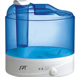 SPT Appliance - 2-Gallons Ultrasonic Humidifier - Cool mist (ultrasonic technology). High humidity output. Silent operation. Moisture output = 2.3 gal/day. Designed for rooms up to 500 sq. ft.. Pilot light and water refill indicator. Boil dry protection . Auto shut-off protection (ultrasonic generator only, fan will continue to run). Convenient carrying handle. Easy refill plug with no-drip feature. No-slip feet. ETL certified. No assembly required. 12.6 in. L X 8.4 in. W X 13.75 in. H (5 lbs.)Whisper quiet - will help you breath better and sleep more comfortably. High humidity output with stepless control. Features dry protection and water refill indicator. Large 2-gallon water tank reduces hassle of constant refill. Produces up to 2.3 gallons of moisture per day.